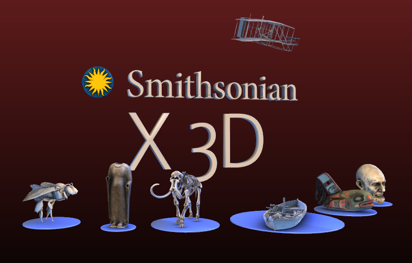 screenshot of 3D.si.edu Collection Teaser, with 3D various 3D renderings from the site's 3D model collection