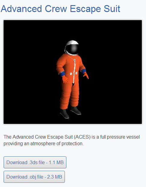 3D rendering of an orange Advanced Crew Escape Suit
