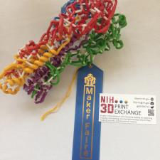 3D-printed molecular model and the Maker Faire blue ribbon