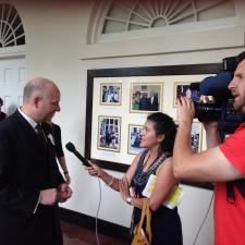 Darrell Hurt gets interviewed at the White House Maker Faire